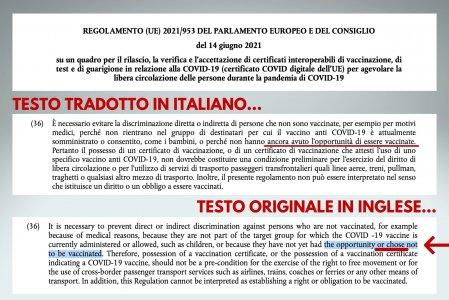 Green Pass: nella traduzione italiana del regolamento UE sparisce una