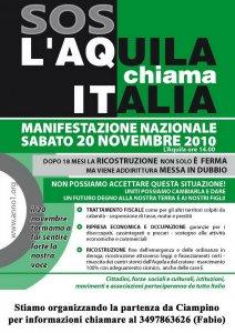 L'Aquila chiama Italia, sabato 20 novembre manifestazione nazionale