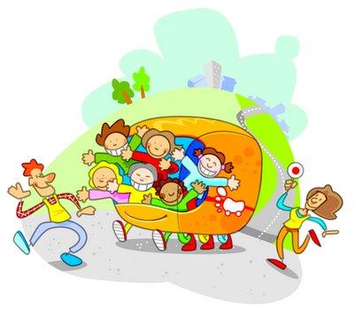 Bimbi a scuola a bordo del 'Piedibus'
