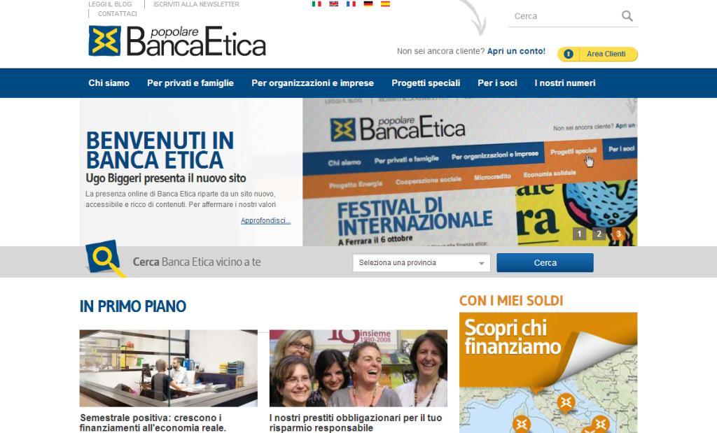 Banca Etica è sul web con il nuovo sito e il Conto in Rete