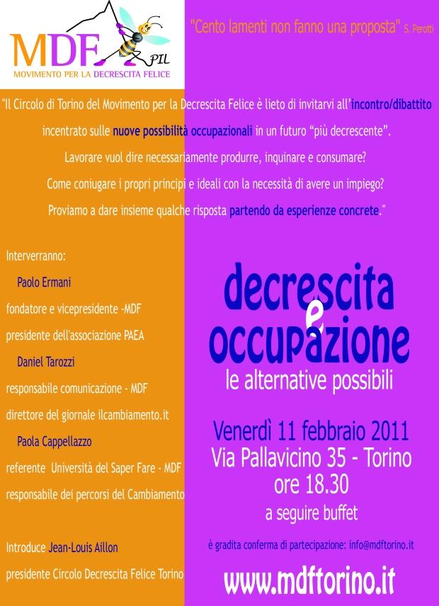 Decrescita e occupazione, oggi a Torino un dibattito sulle alternative