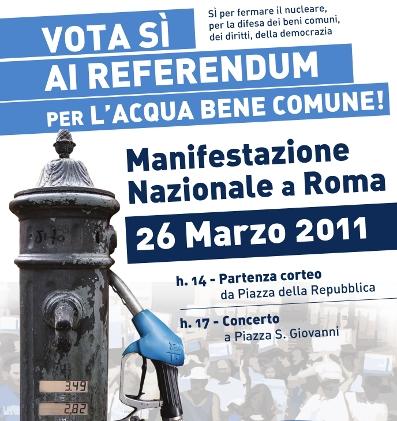 Referendum acqua e nucleare: in 300 mila a Roma